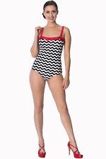 Black White Zigzag Stripes Rockabilly Retro Bikini Swimsuit By Banned Apparel
