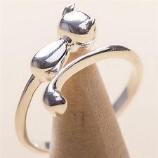 Damen Ring Fingerring Silber Katze Kätzchen Weiß verstellbar Glanz Mattiert