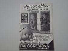 advertising Pubblicità 1974 BAMBOLA ITALOCREMONA CHICCO e CHICCA