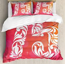 Floral Duvet Cover Set with Pillow Shams Seventy Five Swirls Print