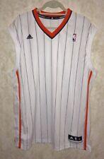 ADIDAS NBA White Orange Striped Grey Basketball Jersey Game Practice NEW Mens XL