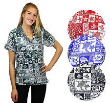 Funky Hawaiibluse Hawaiihemd Shirt Damen Puzzle Kurzarm Front-Tasche Hawaihemd