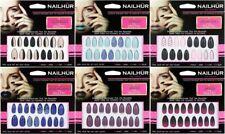 Nailhur Stiletto Designs #4 - Almond Press On Resusable Nail Tips Kit with Glue