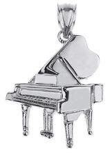 White Gold Piano 3D Pendant Musical Chorus Band Instruments