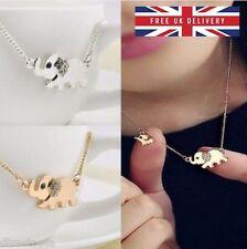 Pendant Necklace Crystal Jewellery Kawaii Rhinestone Gold & Silver Elephant