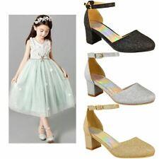 Girls Kids Ladies Low Block Heel Diamante Sandals Wedding Party Shoes Bridesmaid
