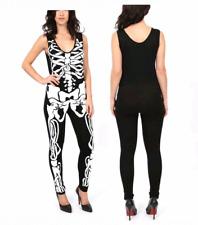 Femmes Halloween sans manches squelette os costume femme combinaison robe fantaisie