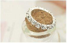 Womens Silver Crystal Encrusted Elasticated AdjustableToe/thumb/finger ring.