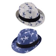 Unisex Summer Beach Straw Fedora Trilby Jazz Cap Coconut Tree Sun Hat Gifts