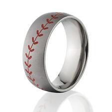 Red Stitch Baseball Ring, Titanium Baseball Wedding Band, MLB, Little League