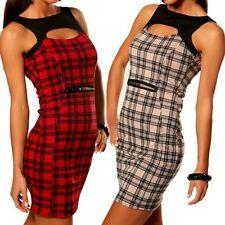 SeXy Miss Damen Mini Kleid Karo Dress 34 36 38 40 rot beige schwarz kariert Top