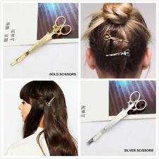 2 Pcs Silver&Gold Scissors Hair clips Women's Cute Hairpin Barrette Slide Grips