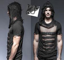 T-shirt haut gothique punk rock bondage résille sangles capuche crête Punkrave