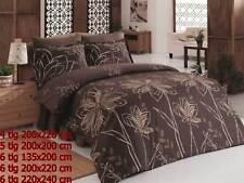 Bettwäsche Bettgarnitur Bettbezug 100% Baumwolle Kissen Decke KRIZANTEM BRAUN