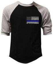 Police Thin Blue Line USA Flag Men's Raglan Baseball T Shirt Black Veteran Army