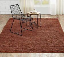 Minneka Country Farmhouse Hand Woven Soft Jute Area Rug Dark Amber Loop Carpet