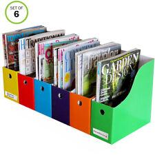 "Evelots Magazine File Holder-Organizer-Full 4"" W-6 Colors-W/Labels-Set/6"