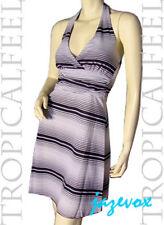 NEW Womens Sleeveless V-Neck Halter Sheath A Line Dress Black And White Striped