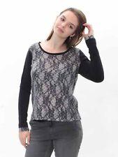 25% Camiseta Suéter Von Simclan con Encaje en Negro Gris, Talla 38 40 42 44 ,