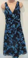 """""""DRESSBARN"""" blau Blumen ausgestellt Kleid (Neu) Größe 12"""