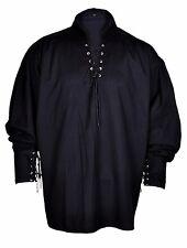 Renaissance Casual Hippie Pirate Shirt Black Color Medieval Costume Men 2 Sizes