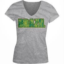 Brazil Distressed Letters Brazilian Football Team Soccer Juniors V-Neck T-Shirt