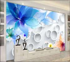 Anello blu brillante 3D Tenda Bloccare Foto Stampa Tendaggio Drappo Tessuto Fine