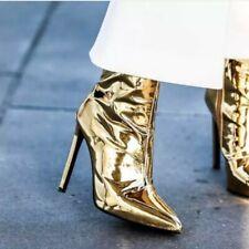 Women High Heel Metallic Mirror Ankle Boots Booties Clubwear Shoes Zip Up Party