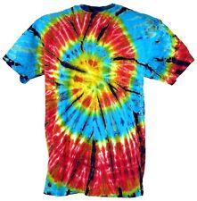 Batik T-Shirt, Herren Kurzarm Tie Dye Shirt - hellblau/rot Spirale