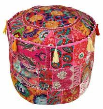 Indian Pouf Ottoman Vintage Ethnic Decor Patch Pouffe Round Floor Pillow Stool