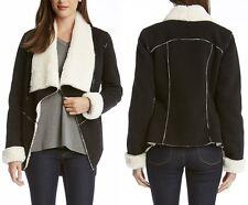 Karen Kane 3L45542 Black/Cream Moondance Faux Shearling Fur Jacket - MSRP $218
