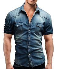 New Men's Casual Fashion Slim Stylish Short Sleeve Denim Washed Shirts