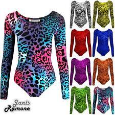 New Girls Kids Leopard Print Long Sleeve Microfibre Dance Leotard Bodysuit Top