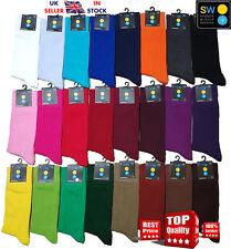 Nuevo Para Hombres Y Mujeres Color Liso Cómodo Suave Algodón Calcetines al tobillo UK 6-11