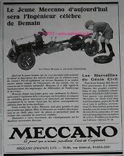 PUBLICITE ORIGINALE 1928 JEU CONSTRUCTION MECCANO CHASSIS VOITURE GENIE CIVIL AD