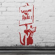 Banksy Rata bienvenidos al infierno Plantilla Reutilizable Hogar Decoración De Pared Pintura Ideal Stencils