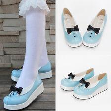 Sweet Lolita Rokoko Barock Blau Blue Damen-schuhe Halbschuhe Ballerinas Krawatte