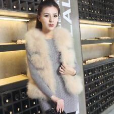 Real ostrich feather Fur Vest Gilet Waistcoat girls Fur short Coats Length 52cm