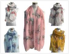 Women Ladies Long Butterfly Pattern Print Shawl Scarf  Warp Stole