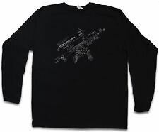 Ak47 Blueprint Manica lunga T-shirt AK 47 gun MG MACHINE AUTOMATIC RIFLE FUCILE era