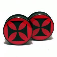 Pair of Acrylic Ear Plugs Saddle Gauges Flesh Tunnels Earrings - Templar's Cross