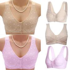 Women Plus Size Wireless Cotton Bras Lingerie Front Close T-Back Wire Bra
