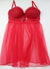 Victoria's Secret Size 32C 10C 34B 12B 36C 14C Red Sheer Push Up Split Slip
