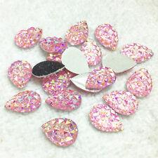 Sparkly Pink AB Teardrop Shape Resin Acrylic Rhinestone Silver Flat Back