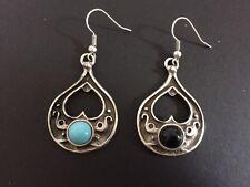 Silver Teardrop Heart Turkish Ottoman Ethnic Black Turquoise Gemstone Earrings