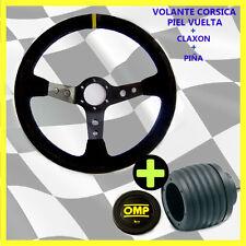 VOLANTE CORSICA Desplazado PIEL VUELTA+PIÑA BMW E21,E30,E36,E46 E90..+ ClaxonOMP