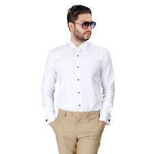 Slim Fit Tuxedo Dress Shirt White Herringbone Textured Men's French Cuff By AZAR