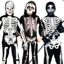 Skeleton Kids Fancy Dress Up Halloween Skull Bones Childrens Spooky Boys Costume