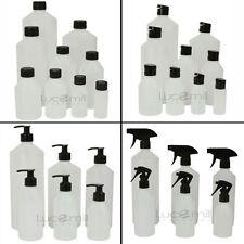 Natural HDPE PLASTIC BOTTLES ***CHOOSE (BLACK) CAP TYPE & BOTTLE SIZE***