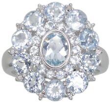 Sky Blue Topaz Gemstone Oval Cluster Sterling Silver Ring